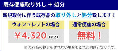 既存便座取り外し+処分 ¥4,320(税込)
